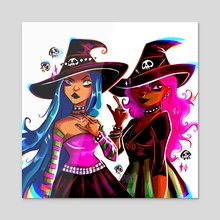 Alt Metalhed witches - Acrylic by Elisabeth Zill