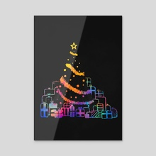 Xmas Tree (rainbow) - Acrylic by Carly A-F