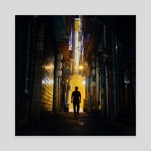 Cyberpunk Yellow Alley - Canvas by Alberto Urra