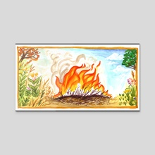 Prairie Fire Seasons - Acrylic by Liz Anna Kozik