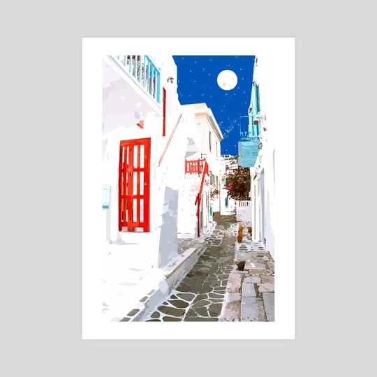 Greek Trip Down Memory Lane, Greece Travel Architecture Building Moon, Tropical Watercolor Painting by 83 Oranges