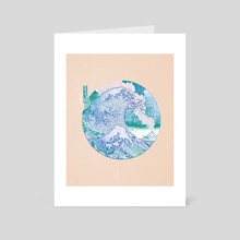 Great Wave Off Kanagawa-Mount Fuji Eruption Blue and Beige - Art Card by Anthony Londer