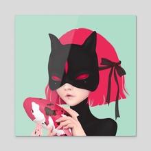 BLACK CAT - Acrylic by Anne Martwijit