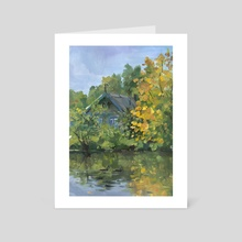 Early September Landscape Small Village - Art Card by Aurora Borealis