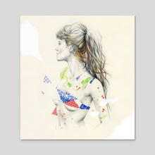 Mermaid - Acrylic by Natalia Sanabria