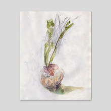 Turnip with gesso  - Acrylic by Juliette GUENARD