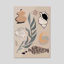 Seashells, Vases, the Moon - Acrylic by Amber Morgan
