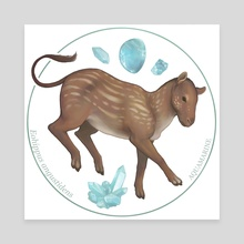 Eohippus angustidens with aquamarine - Canvas by Alisa B.