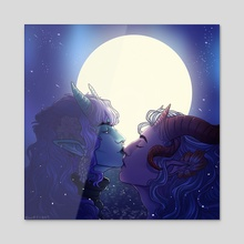 Kisses in the moonlight - Acrylic by Imogen