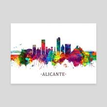 Alicante Spain Skyline - Canvas by Towseef Dar