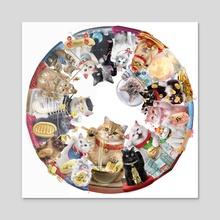 The Maneki Neko wheel 1-18, white - Acrylic by Maxime Girault