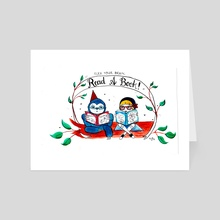 Read A Book Sloth Print - Art Card by Nicole Georges