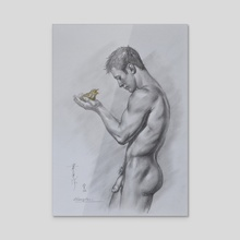 Drawing man and bird - Acrylic by Hongtao Huang