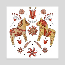 Scandinavian Folklore Dala Horses - Canvas by Genevieve Blais