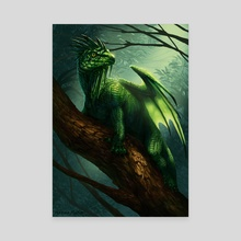 Flying forest dragon - Canvas by Motom Hatono