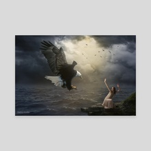 The girl and the eagle - Canvas by Dejan Travica