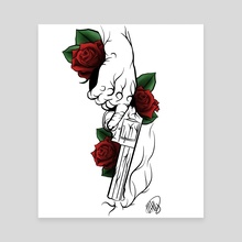 Roses and a gun - Canvas by Matthew Hally