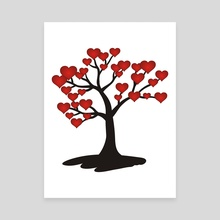 Tree with red hearts - Canvas by Dmytro Rybin
