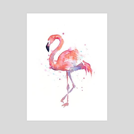 Flamingo Watercolor by Olga Shvartsur