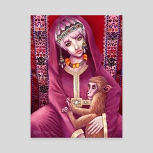 The girl holding monkey  - Canvas by RABIA EL MOUDEN