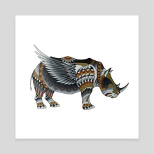 Winged Rhino - Canvas by Adam Lindsay Honsinger