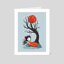 Girl and a Fox 2 - Art Card by Indré Bankauskaité
