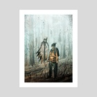The ghost an the kid - Art Print by Alex Vede