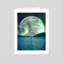 Big Moon With Norwegian Lights - Art Card by 016 Graphics