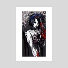 a girl with a red arm - Art Print by Naked Cherry