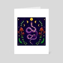 Moon Phases Snake  - Art Card by Sara Di Lella