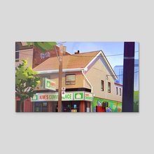 Kim's Convenience Store - Day - Acrylic by Lindsey Hiramoto