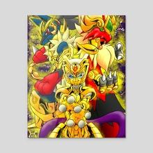 Mewtwo Lucario Blaziken Gold Saints - Acrylic by Victor Ku