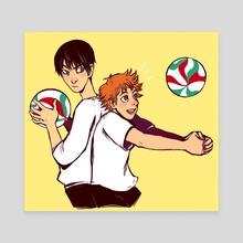 Kageyama and Hinata - haikyuu! - Canvas by Ria Martinez