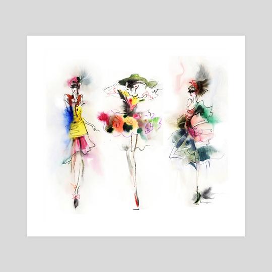 Beautiful girls in dress. Watercolor. by Tatiana Nikitina