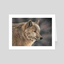 Wolf In Snow - Art Card by Richard Macwee