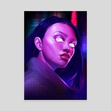 Neon Girl - Canvas by Kate  Bilenko