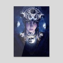 Owl Shaman - Acrylic by Nora Penzina