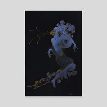Pulpo in the dark - Canvas by Willa Applegate