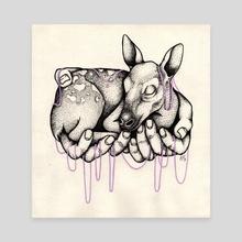 Sleeping fawn - Canvas by Emmi Eriksson