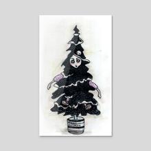 Black Xmas Tree - Acrylic by Rouble Rust