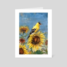American Goldfinch Study on Sunflowers - Art Card by Abby Hope