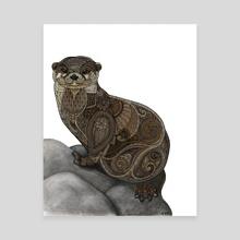 Otter - Canvas by Zanna Field