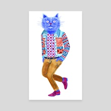 Blue Cat Man - Canvas by Lisa Hanawalt