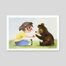 Girl And Bear Sharing Berries - Acrylic by Greg Abbott