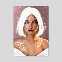 The white Lady - Acrylic by Pauline Wisp