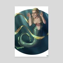 Mermaid, boo! - Canvas by Lakira M