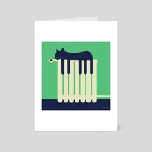 The sleeping cat on the heater looks like piano keys - Art Card by Steffen Kraft