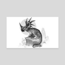 Styracosaurus and monk - Canvas by Shaun Keenan