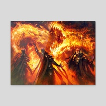 MTG Stoke the Flames promo art - Acrylic by Mathias Kollros