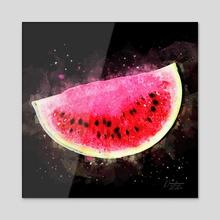 Watermelon Slice - Mixed Media - Acrylic by Dreamframer